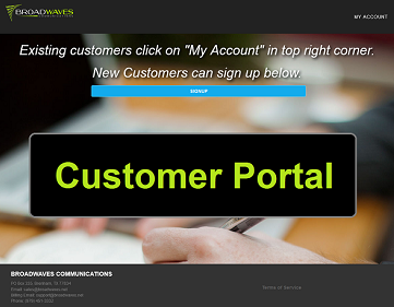 Broadwaves Internet Customer Portal